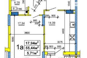 Продается 1-комнатная квартира 54.1 кв. м в Черкассах