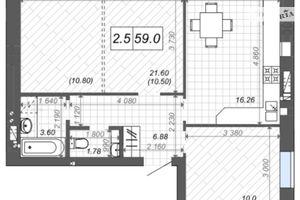 Продается 2-комнатная квартира 59 кв. м в Ирпене