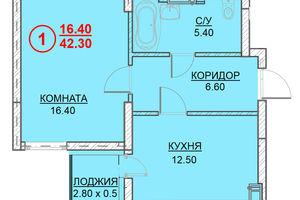 Продается 1-комнатная квартира 42.3 кв. м в Вышгороде