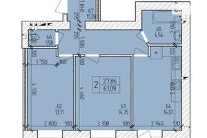 Продається 2-кімнатна квартира 62.9 кв. м у Хмельницькому