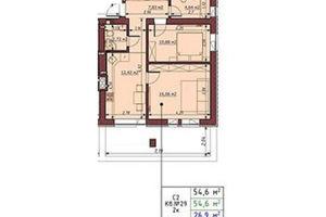 Продается 2-комнатная квартира 54.6 кв. м в Ирпене