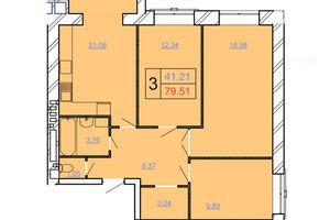 Продается 3-комнатная квартира 79.51 кв. м в Хмельницком