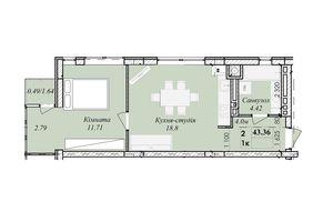 Продається 2-кімнатна квартира 43.36 кв. м у Тернополі