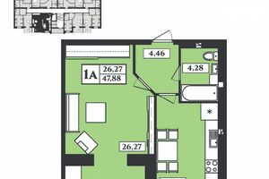 Продается 1-комнатная квартира 47.8 кв. м в Житомире