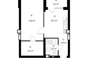 Продается 1-комнатная квартира 39.9 кв. м в Ирпене