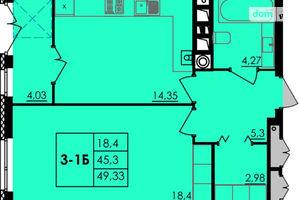 Продается 1-комнатная квартира 49.33 кв. м в Черкассах