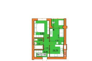 Продается 1-комнатная квартира 40.09 кв. м в Ирпене