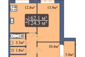 Продается 2-комнатная квартира 62.1 кв. м в Чернигове